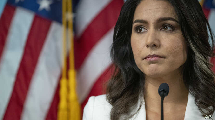 Democratic presidential candidate U.S. Rep. Tulsi Gabbard, D-Hawaii, speaks during a news conference at the 9/11 Tribute Museum, Oct. 29, 2019, in New York.