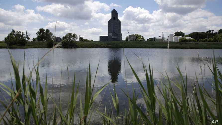 A grain elevator is reflected in a wetland area at Holmquist, S.D., on Tuesday, June 18, 2019. Around the world, efforts are…