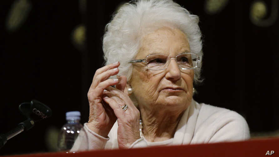 Holocaust survivor Liliana Segre speaks with young students on the occasion of an Holocaust remembrance, at the Arcimboldi…