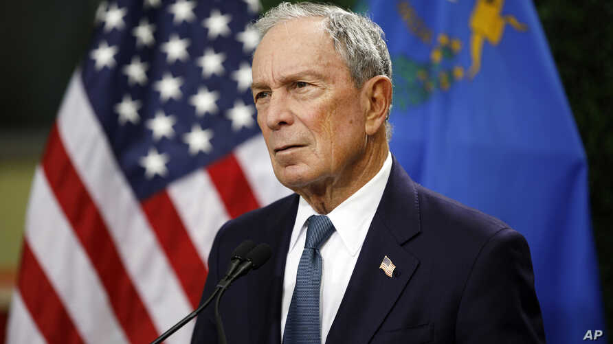 FILE - In this Feb. 26, 2019, file photo, former New York City Mayor Michael Bloomberg speaks at a news conference at a gun…