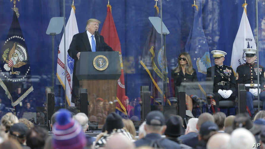 President Donald Trump speaks at the opening ceremony of the New York City Veterans Day Parade in New York, Nov. 11, 2019.