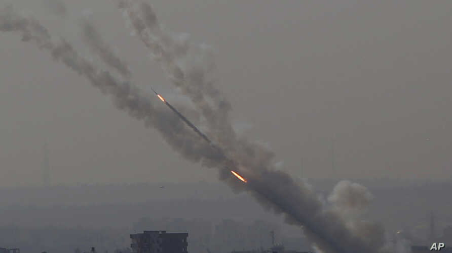 Rockets are launched from Gaza Strip to Israel, Nov. 12, 2019. Israel killed a senior Islamic Jihad commander in Gaza early Tuesday in a resumption of pinpointed targeting that threatens a fierce round of cross-border violence with Palestinian militants.