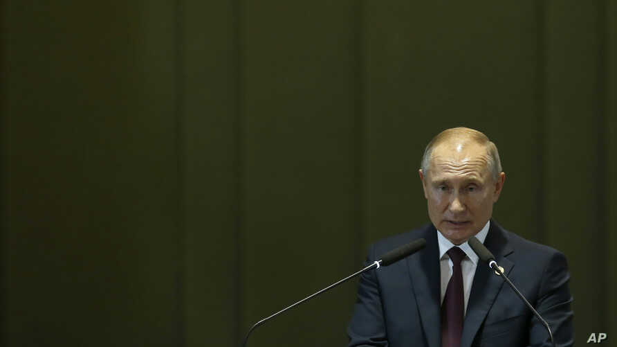 Russia's President Vladimir Putin speaks during the Leaders Dialogue with BRICS Business Council and the New Development Bank, at the Itamaraty Palace in Brasilia, Brazil, ov. 14, 2019.