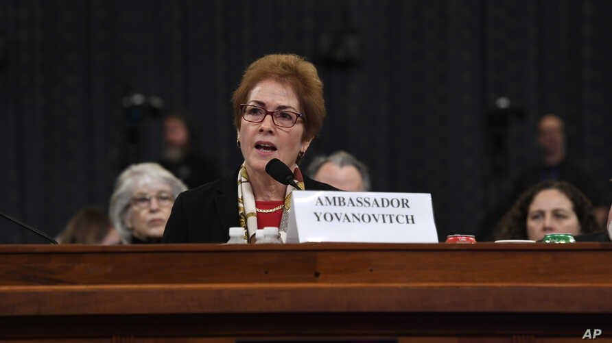 Former U.S. Ambassador to Ukraine Marie Yovanovitch testifies before the House Intelligence Committee on Capitol Hill.