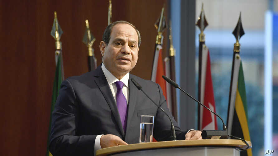 """Egypt's President Abdel Fattah al-Sisi speaks at the """"G20 Investment Summit - German Business and the CwA Countries 2019"""" on…"""