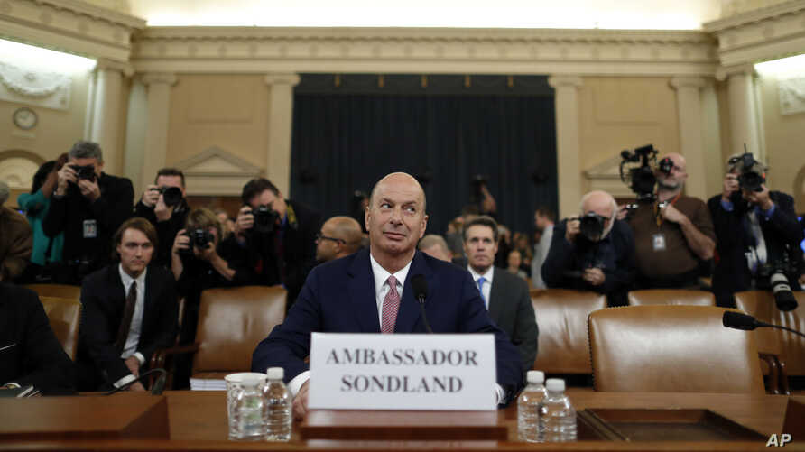 U.S. Ambassador to the European Union Gordon Sondland arrives to testify before the House Intelligence Committee