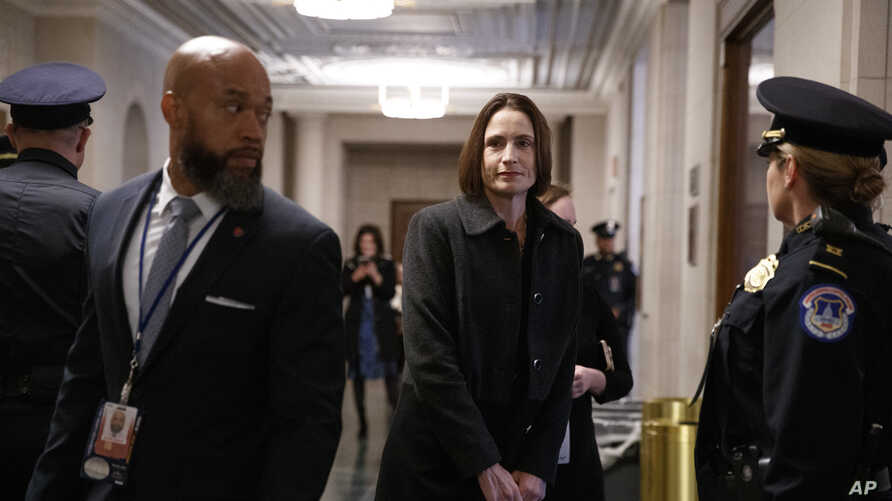 Former White House national security aide Fiona Hill arrives to testify before the House Intelligence Committee on Capitol Hill in Washington, Nov. 21, 2019