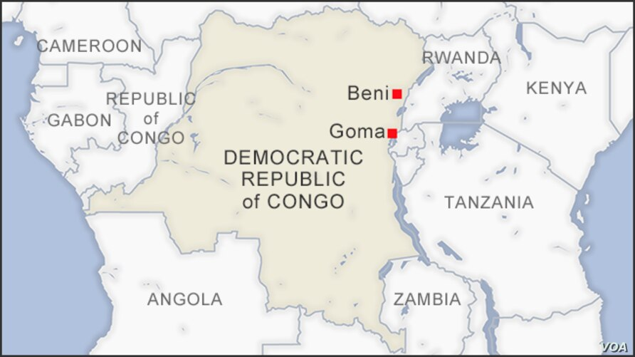 Map of Beni and Goma, DRC