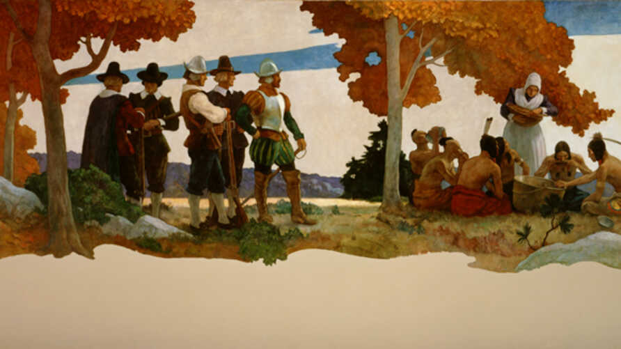 Newell Convers Wyeth: Thanksgiving with Indians