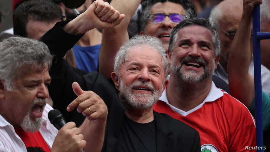 Former Brazilian President Luiz Inacio Lula da Silva gestures after being released from prison, in Sao Bernardo do Campo, Brazil, Nov. 9, 2019.