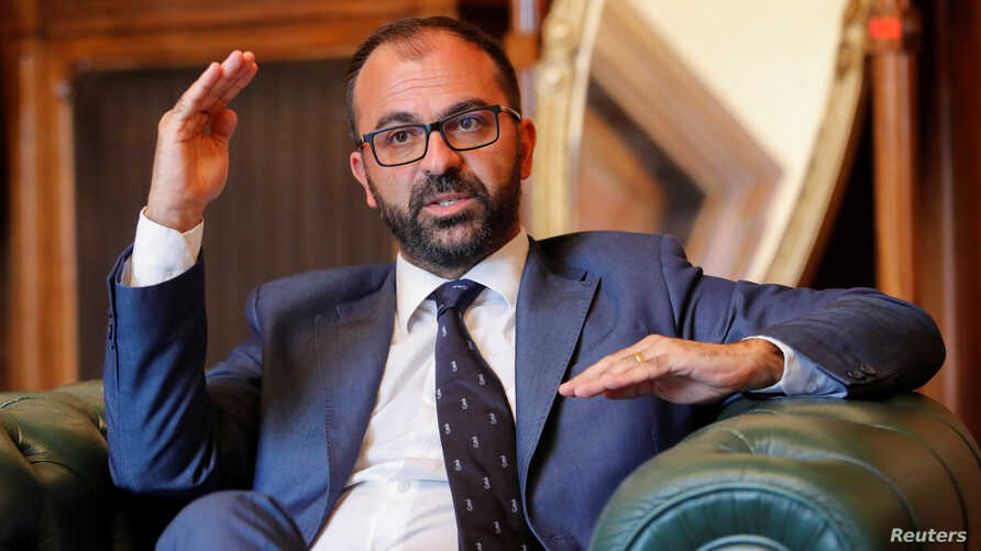 Italy's Education Minister Lorenzo Fioramonti gestures during an interview with Reuters in Rome, Italy, November 4, 2019.
