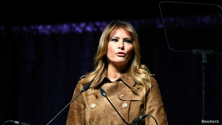 U.S. first lady Melania Trump speaks at a youth summit on opioid awareness at the UMBC Event Center in Baltimore, Maryland, U.S…