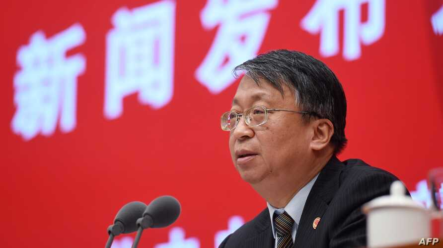 Shen Chunyao, director of the Hong Kong, Macau and Basic Law Commission, speaks at a press conference in Beijing, China, Nov. 1, 2019.