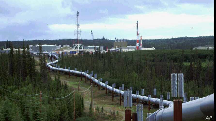 FILE - The Trans-Alaska pipeline and pump station north of Fairbanks is shown in this undated photo. The 800-mile Trans-Alaska pipeline carries Alaska North Slope crude oil from Prudhoe Bay south to Valdez.