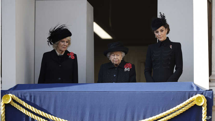 Britain's aBritain's Queen Elizabeth II, Kate, Duchess of Cambridge, right, and Camilla, Duchess of Cornwall, attend the Remembrance Sunday ceremony at the Cenotaph in Whitehall in London, Nov. 10, 2019. Queen Elizabeth II, Kate, Duchess of Cambridge, right, and Camilla, Duchess of Cornwall, attend the Remembrance…