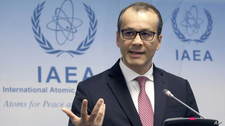 Acting Director General of the International Atomic Energy Agency (IAEA) Cornel Feruta addresses the media during a news conference at the International Center in Vienna, Austria, Nov. 21, 2019.