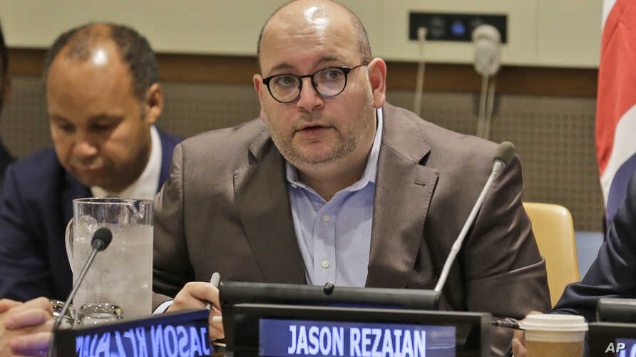 FILE - Washington Post reporter Jason Rezaian participates in a panel discussion on media freedom at United Nations headquarters, in New York, Sept. 25, 2019.