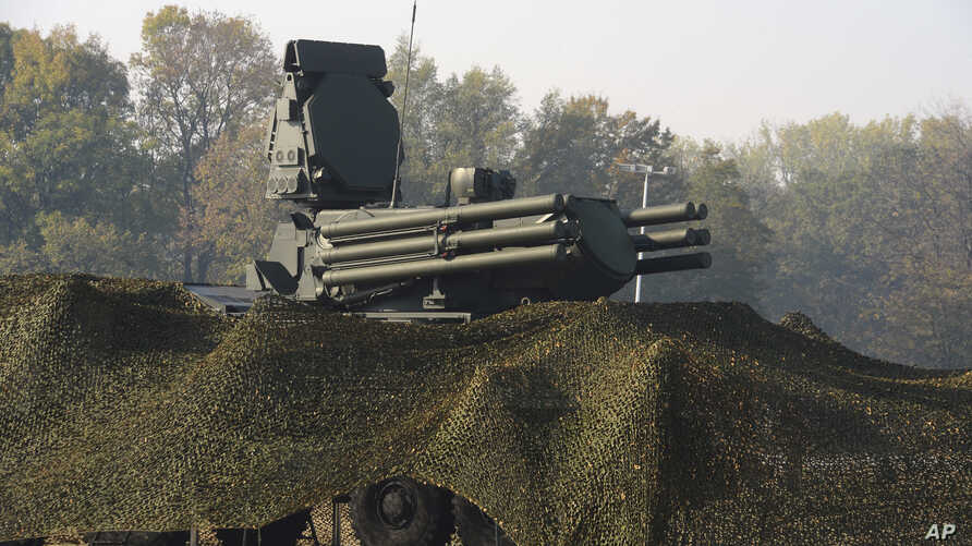FILE - A photo provided by the Serbian Presidential Press Service shows the Russian air defense system Pantsir S displayed during joint militry exercises at  Batajnica military airport, near Belgrade, Serbia, Oct. 25. 2019.