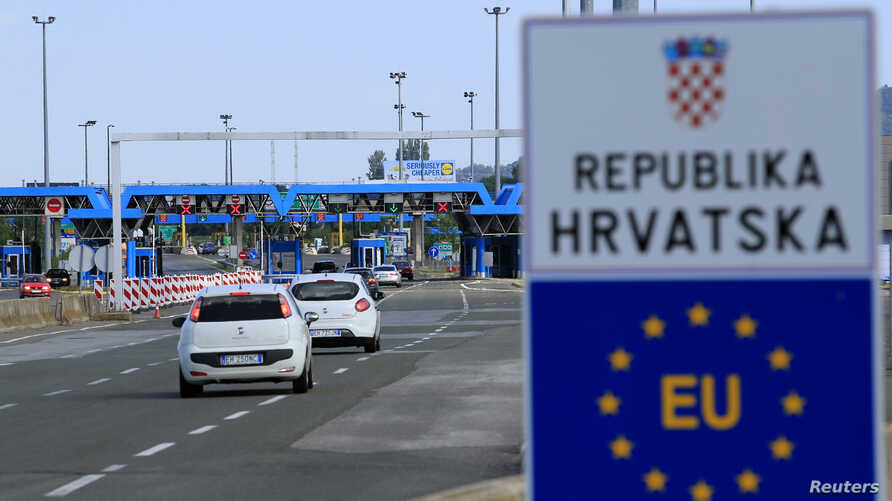 FILE - A Croatian border crossing is seen at Bregana, Croatia, July 1, 2013.