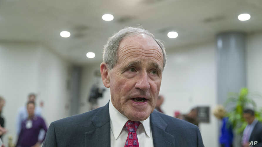 Senate Foreign Relations Committee Chairman Jim Risch, R-Idaho, speaks with the media after a closed-door briefing for the…