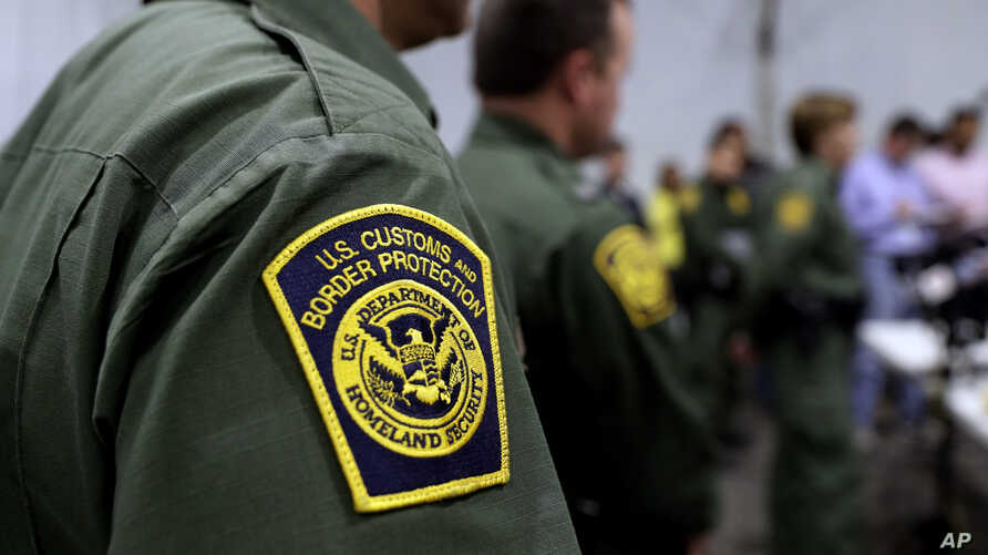 Border Patrol agents hold a news conference prior to a media tour of a new U.S. Customs and Border Protection temporary…