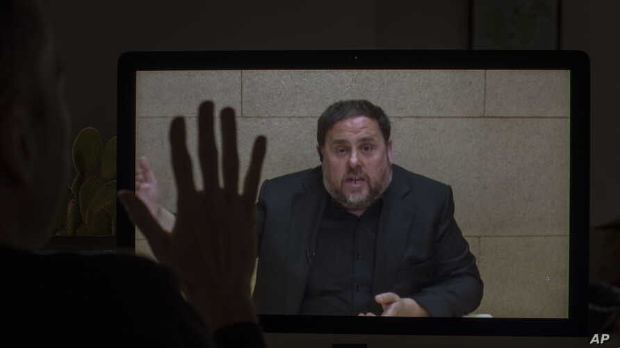The leader of the Catalan ERC party and European Parliament candidate Oriol Junqueras speaks from Soto del Real prison in…