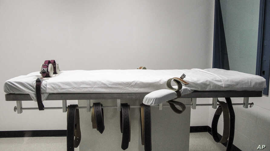 FILE - This July 7, 2010 file photo, shows Nebraska's lethal injection chamber at the State Penitentiary in Lincoln, Neb. The…
