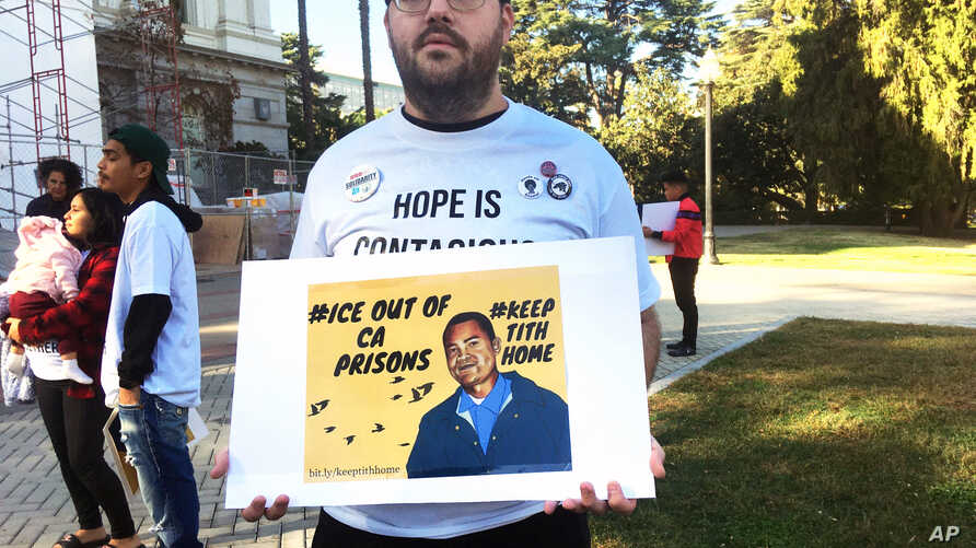 Connor Gorman of Davis, Calif., joins a rally on behalf of Cambodian refugee Tith Ton, who is awaiting parole from a murder…
