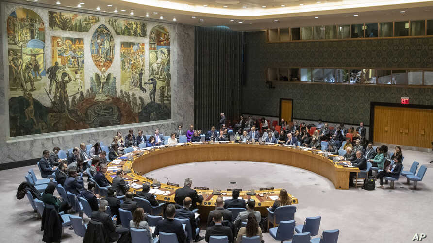 """On Dec. 2, 2019, the 15-member Security Council, shown on  Nov. 20, 2019, urged all states """"not to intervene in the conflict or to take measures that would exacerbate the conflict"""" jn Libya."""