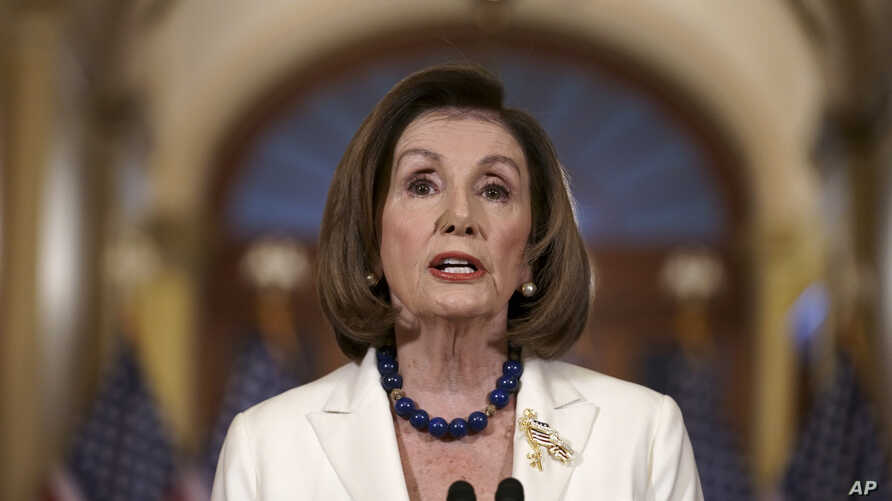 Speaker of the House Nancy Pelosi, D-Calif., makes a statement at the Capitol in Washington, Dec. 5, 2019.