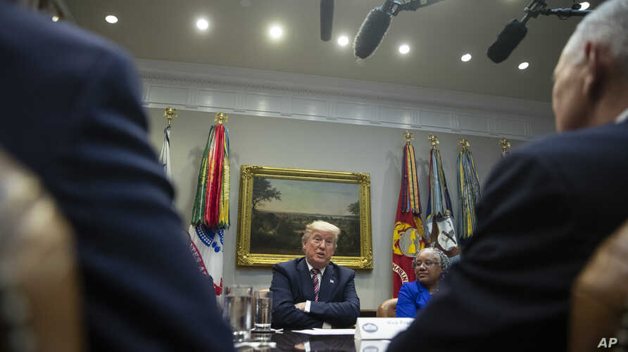 President Donald Trump speaks during a small business roundtable in the Roosevelt Room of the White House, Friday, Dec. 6, 2019…