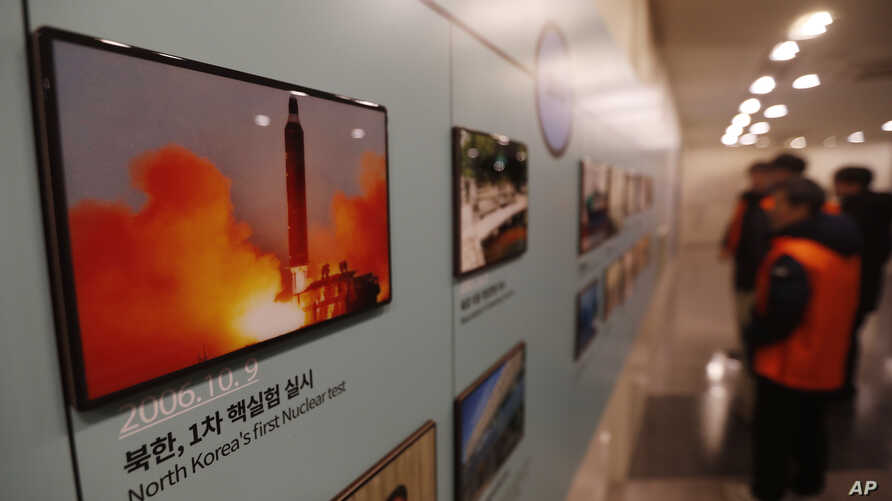 A photo showing North Korea's missile launch is displayed at the Unification Observation Post in Paju, South Korea, near the border with North Korea, Dec. 13, 2019.