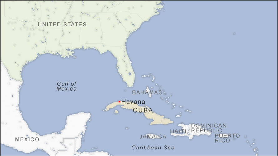 Map of Cuba and the U.S.