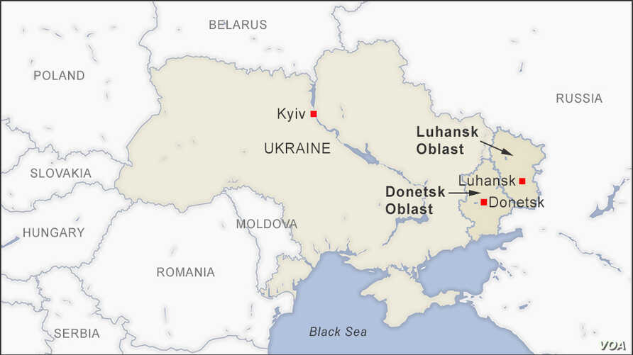 Map of Donetsk and Luhansk Ukraine