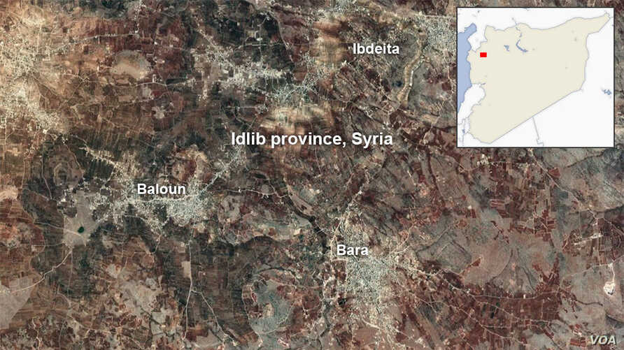 Map of Idlib province Syria, showing the villages of Balyoun, Bara and Ibdeita