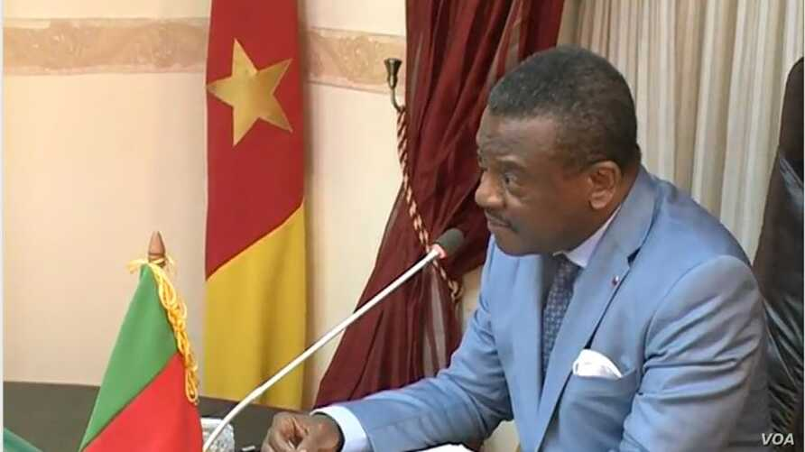 Cameroon Prime Minister Joseph Dion Ngute speaks during a meeting on the country's reconstruction, in Yaounde, Dec. 5, 2019. (Moki Edwin Kindzeka/VOA)