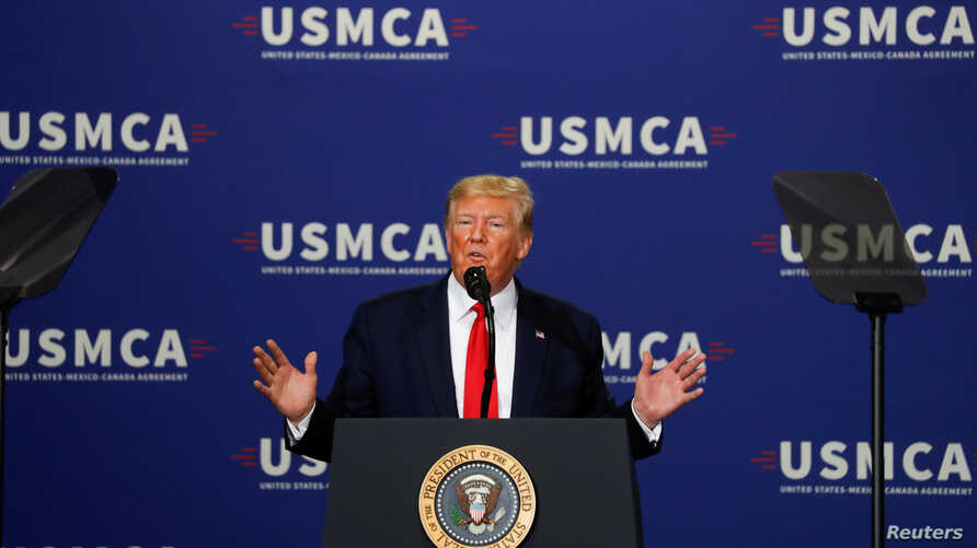 U.S. President Donald Trump delivers remarks on supporting the passage of the U.S.-Mexico-Canada (USMCA) trade deal during a…