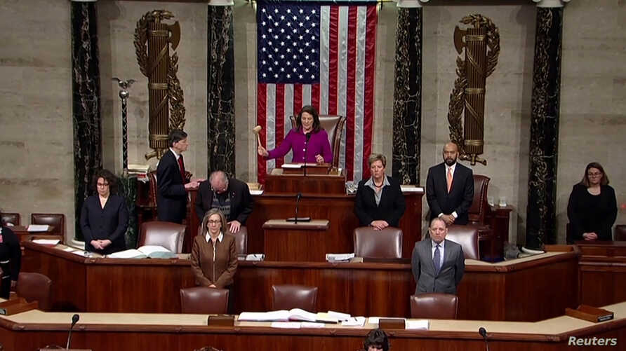 Rep. Diana Degette, member presiding over the U.S. House of Representatives, pounds the gavel to open the session to discuss…