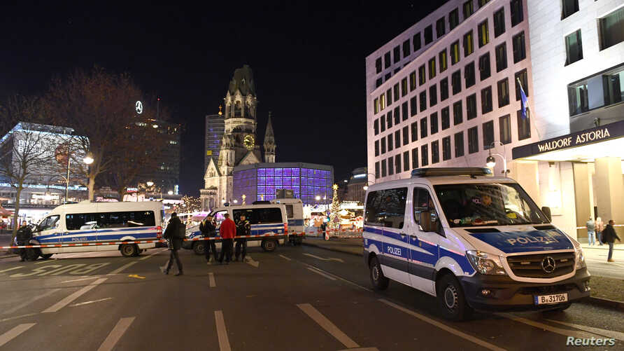 Police evacuated a Christmas market in Berlin, Germany, on Dec. 21, 2019, that was the scene of a fatal attack three years ago to investigate a suspicious object.
