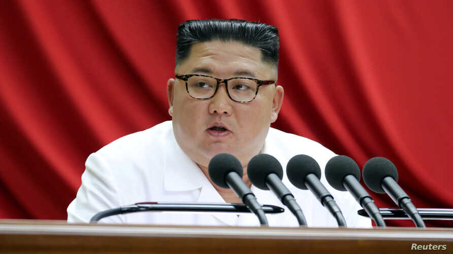 North Korean leader Kim Jong Un speaks during the 5th Plenary Meeting of the 7th Central Committee of the Workers' Party of…