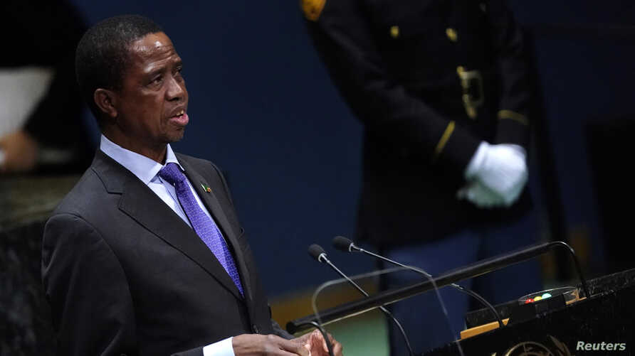 Zambia's President Edgar Chagwa Lungu addresses the 74th session of the United Nations General Assembly at U.N. headquarters in…