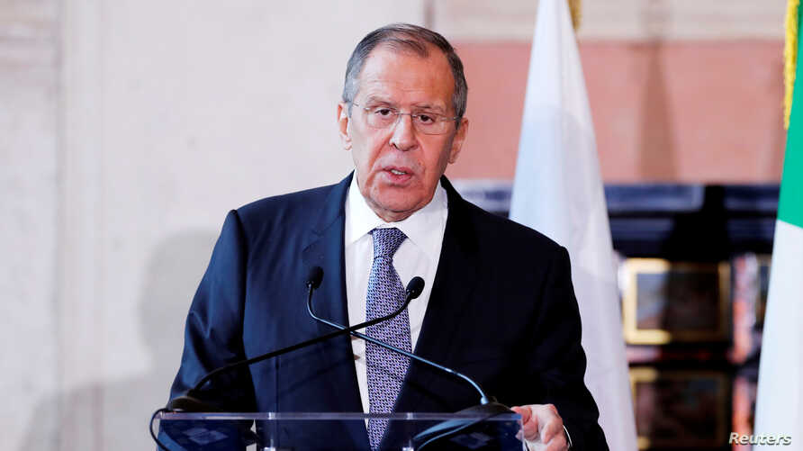 FILE PHOTO: Russian Foreign Minister Sergei Lavrov attends a joint news conference with Italian Foreign Minister Luigi Di Maio…