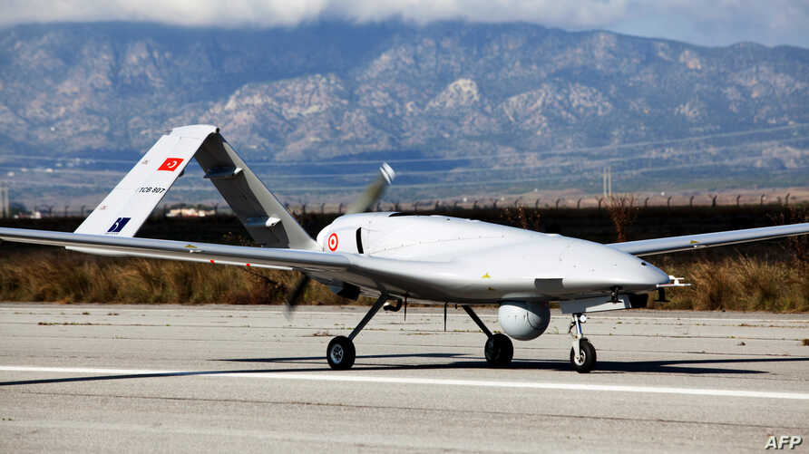 The Bayraktar TB2 drone is pictured Dec. 16, 2019, at Gecitkale Airport in Famagusta in the self-proclaimed Turkish Republic of Northern Cyprus.