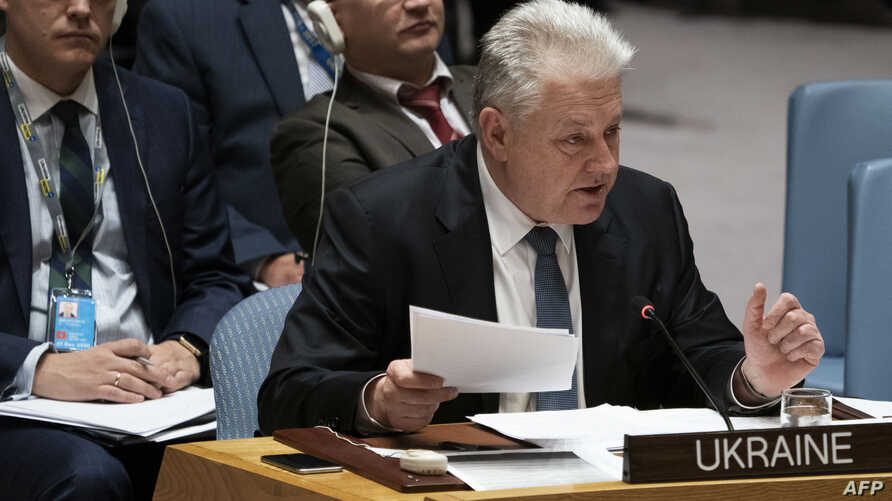 FILE - Ukraine's Ambassador to the United Nation Volodymyr Yelchenko addresses the U.N. Security Council during a council meeting on Ukraine, at U.N. headquarters in New York, Nov. 26, 2018.