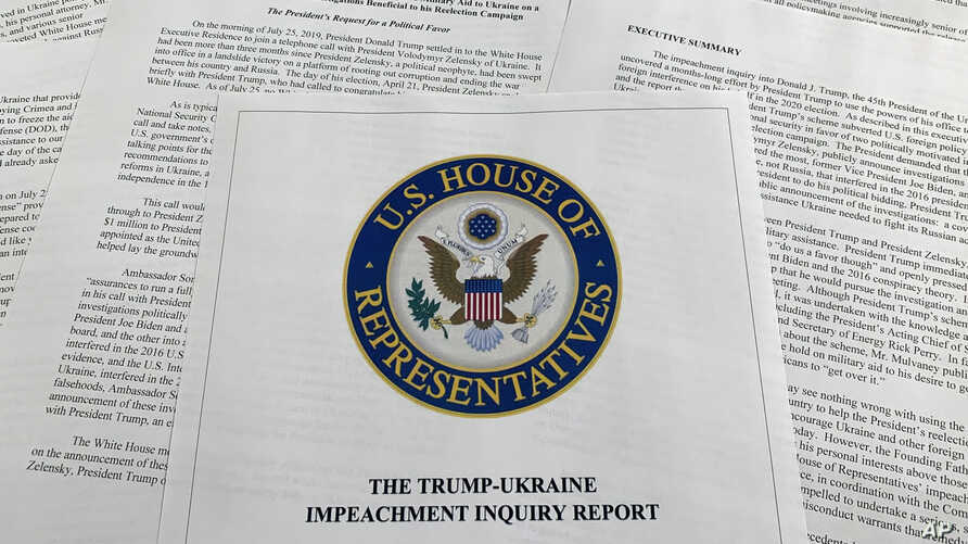 The report from Democrats on the House Intelligence Committee on the impeachment inquiry into President Donald Trump is photographed in Washington, Dec. 3, 2019.