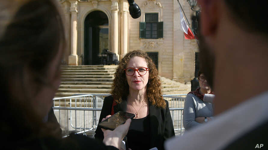 EU special envoy Sophia in 't Veld talks to the press outside Castille, in Valletta, Malta, Dec. 3, 2019, after a short meeting with the Prime Minister of Malta Joseph Muscat.
