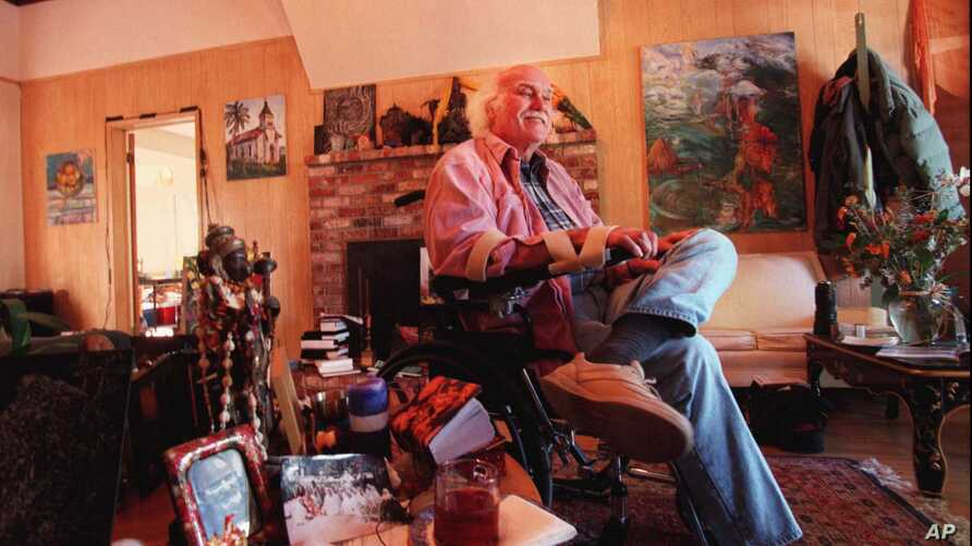 "Ram Dass, the counterculture spiritual leader best known for the 1971 bestseller ""Be Here Now,"" sits inside his home in San Anselmo, California, Oct. 21, 1998."