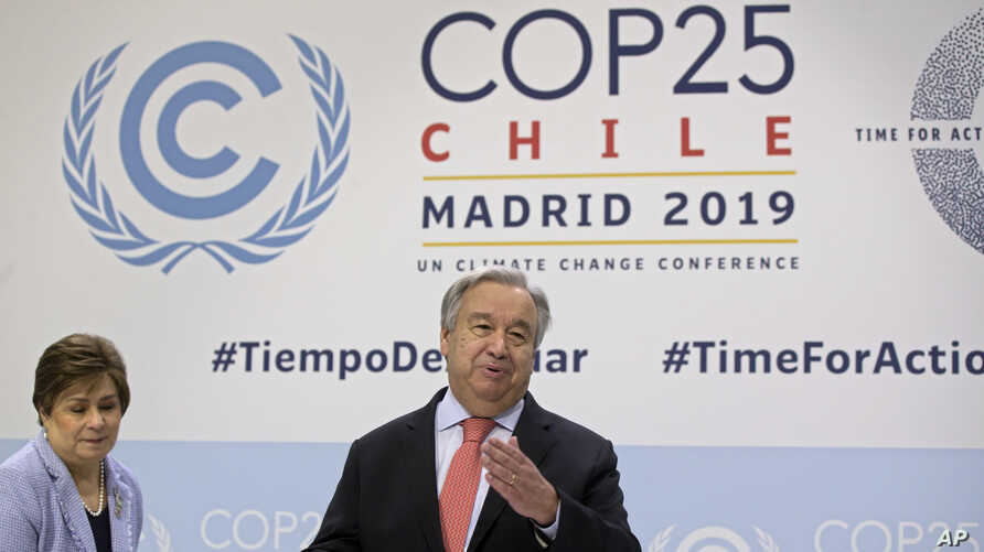 U.N. Secretary-General Antonio Guterres arrives for a news conference at the COP25 summit in Madrid, Spain, Dec. 1, 2019.
