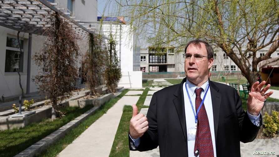 David Sedney, acting president of American University of Afghanistan speaks during an interview at a American University in…