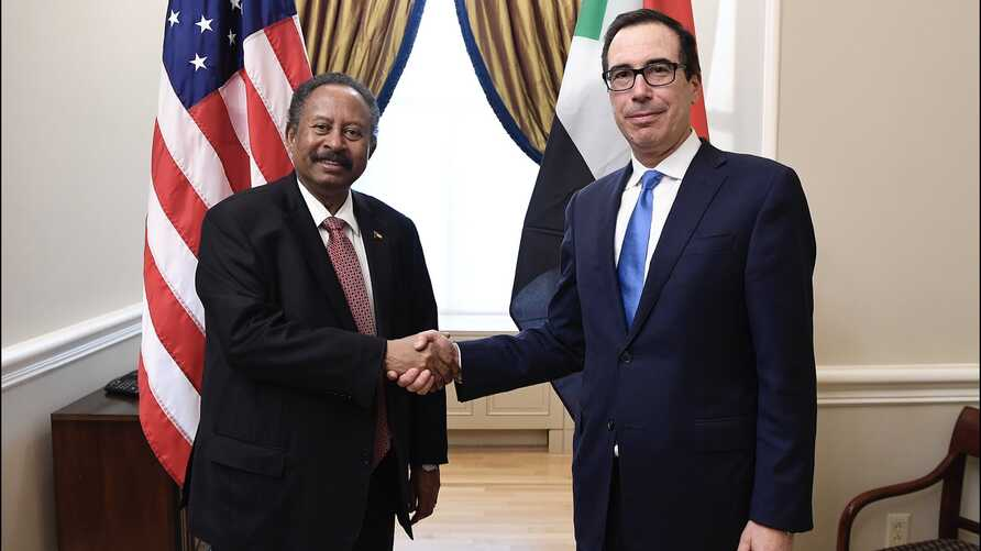 U.S. Treasury Secretary Steven Mnuchin (R) meets with Sudan's Prime Minister Abdalla Hamdok in Washington, December 3, 2019. (Twitter - @stevenmnuchin1)